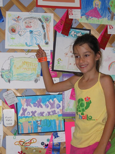 R with her Crayon Drawing at Fair