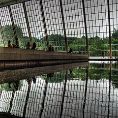 Reflections of The Met (ecstaticist) Tags: park new york nyc trees people reflection green window water pool silhouette museum america photoshop canon reflections temple person high dynamic united central egypt figure use states met range metropolitan hdr egyptology dendur photomatix tonemapped tonemapping g10