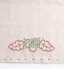 acorn tea towel (Kimberly Ouimet) Tags: autumn fall stitch embroidery acorns bigb teatowel handstitch