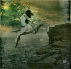 131.365 ~ .hello freedom, goodbye fear. (just.K) Tags: ocean cliff sunlight texture me water socks freedom jump stripes rocky manipulation sunburst yeartwo goodbye scratch fears leap 365days 131365 justk