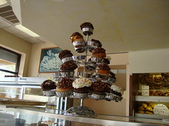the cupcake stand at Freedman's Bakery