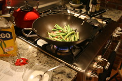 green beans in the wok
