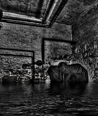 He Glides on water, too, silent at night. (Mister Joe) Tags: shadow portrait white selfportrait man black brick art water ink photoshop nikon flood pipes basement floating joe cape hood cloak exposedbrick masked exposed creeping lurk photomatix d80 nikond80 nikon80 cloakedman