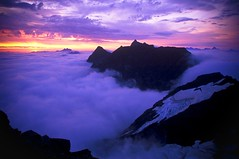 Cheam Range Sunrise (justb) Tags: morning pink justin cloud baby brown mist mountain mountains film colors beautiful misty lady clouds sunrise hope colorful bc purple peak traverse glacier velvia stewart glaciers knight fujifilm peaks majestic range welch chilliwack munday cheam justb