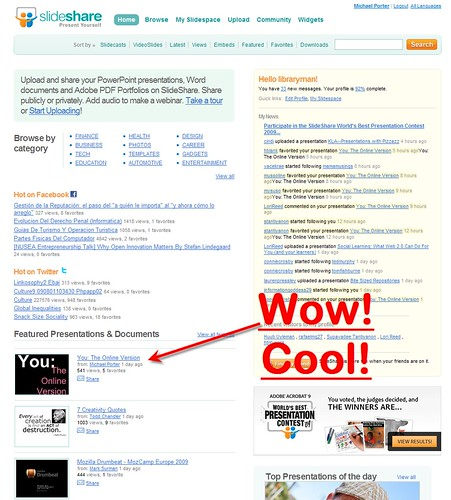 "My Presentation Was ""Featured"" on slideshare.  Coolness!"