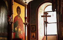 Russian Orthodox Cathedral Window (Mr. T in DC) Tags: windows washingtondc dc icons interiors religion paintings saints churches cathedrals crosses dcist crestwood saintjohnthebaptist russianorthodox stjohnthebaptist russianorthodoxcathedral stpanteleimon saintpanteleimon
