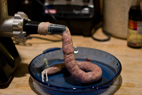 Colombian Sausages: grinding and stuffing the casings