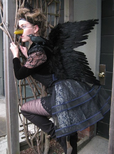 """""""Quoth the raven: Nevermore..."""" Fashion-savvy Addysen Trumper shows off the outfit she will be sporting this Halloween. She made this elegant raven costume entirely out of clothing and accessories she already owned.  Photo by Melissa Stihl/Foghorn"""