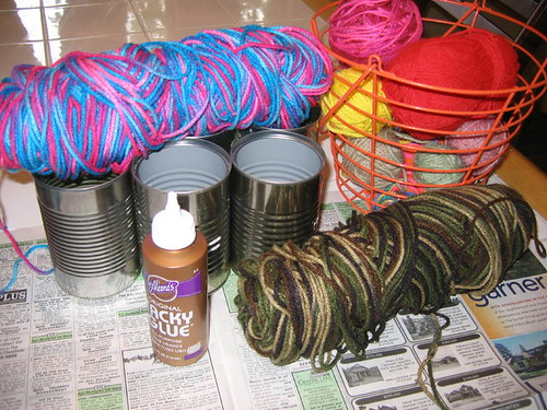 Supplies for our yarn cans