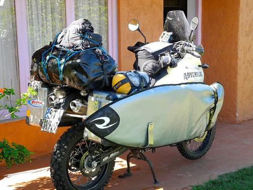 Packed bike in Uruguay