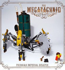 Prussian Mecarachnid (captainsmog) Tags: mars saw war rivets lego arachnid victorian machine steam story fantasy weapon copper minifig minifigs custom gears martian mecha mech steampunk mocs prussia moc prussian