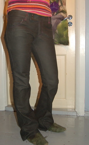 leather pants handmade sewing sew jeans trousers norsk husflid womanmade håndlaget ingermaaike