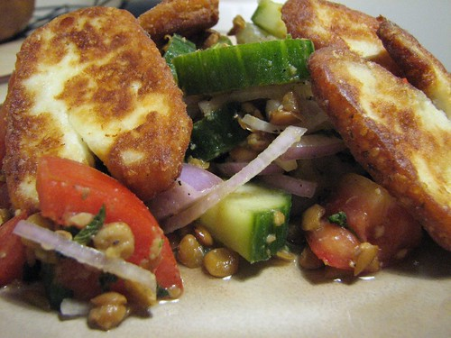 Haloumi with Lentil Salad