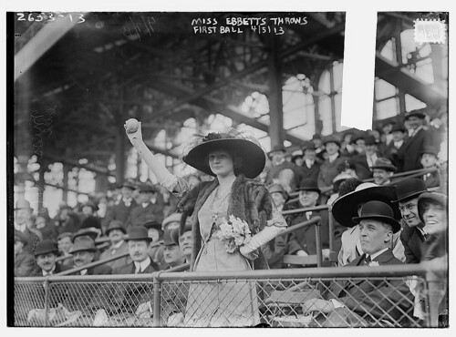 [Miss Genevieve Ebbets, youngest daughter of Charley Ebbets, throws first ball at opening of Ebbets Field (baseball)] (LO...