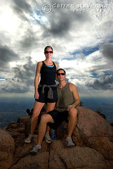 Portrait on Top of Camelback Mtn. (Poppa-D) Tags: arizona portrait mountain phoenix darren sunglasses rock clouds nikon couple hiking peak az location boulder hike stevenson summit destination d200 athlete vivitar camelbackmountain camelback poppad sb800 pocketwizard darrenstevenson