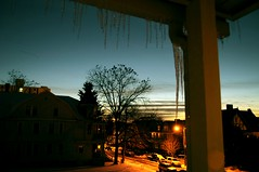 Going down (Chala Jan) Tags: street trees light sunset sky ice nature melting dusk project365