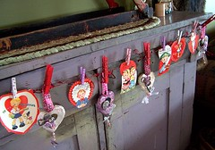 Vintage Valentine Card Garland (The Tiquehunters Wife ( formerly Teeny Tiny Cabin)) Tags: hearts keys buttons valentine vintagevalentines valentinegarland