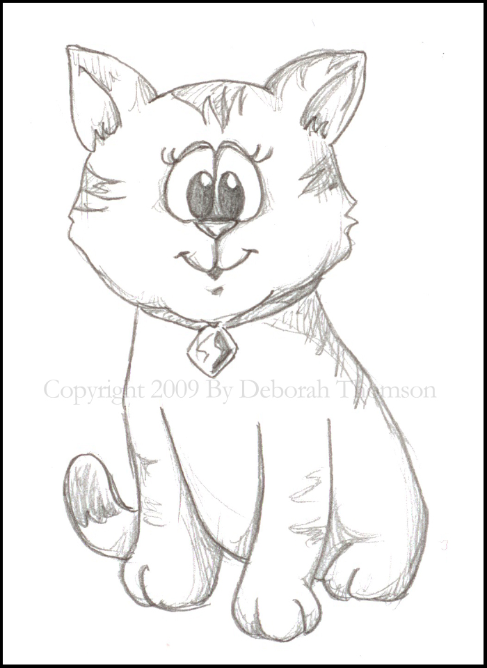 cat sketch with copyright-border