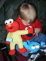 Yup, Elmo is still on my tummy!