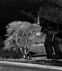 Hopperstad Stave Church (Chris Abram) Tags: blackandwhite norway vik stavechurch woodenchurch sognfjord medievalarchitecture blackwhitephotos hopperstand