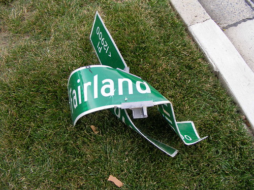 Crumpled Street Sign, Fairland at Marlow