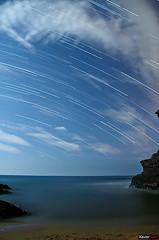 Startrails (Carlos J. Teruel) Tags: longexposure espaa mar nikon nightshot paisaje murcia nocturna nocturnas 2009 startrails d300 calblanque 18200vr xaviersam
