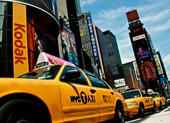 moving on Broadway (AgusValenz) Tags: nyc ny newyork yellow kodak taxi yellowcab timessquare hsbc explored efs18200mmf3556is