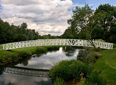 Pyrford Golf Course (Studyjunkie) Tags: uk greatbritain bridge england reflection water landscape footbridge britain surrey golfcourse gb woodenbridge pyrford project365 whitebridge 206365 project3661 t189project365 25thjuly2009 pyrfordgolfcourse