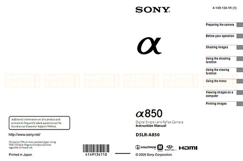 Sony Alpha DSLR-A850 User Manual Leaked: Main Page