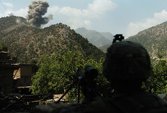 Gunfight and Airstrike in Korengal Valley
