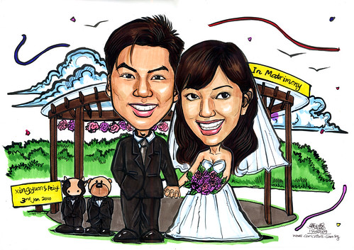 Wedding couple caricatures @ pavillion