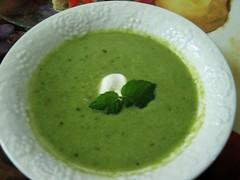 Fresh Pea, Mint, Leek soup with Crème Fraîche