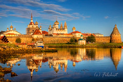 Solovki-sunset (filchist) Tags: blue sunset white reflection beautiful bay russia monastery kremlin kreml rocs   solovki solovetsky seacanon  thebestofcengizsqueezeme2groups solovetskij