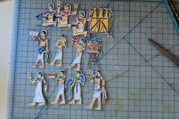drawn and cut Egyptian figures for cake