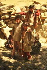 Shepherd boys (petelovespurple) Tags: pakistan june1988 copiedslides k2trek riverbraldu
