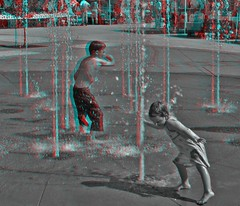 Olde Town Arvada Fountain (Anaglyph 3D) (patrick.swinnea) Tags: water fountain kids stereoscopic 3d colorado anaglyph arvada