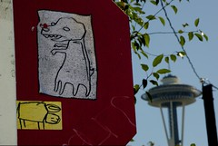 Starheadboy (sonek321) Tags: seattle streetart art graffiti washington sticker wa spaceneedle pentaxk10d