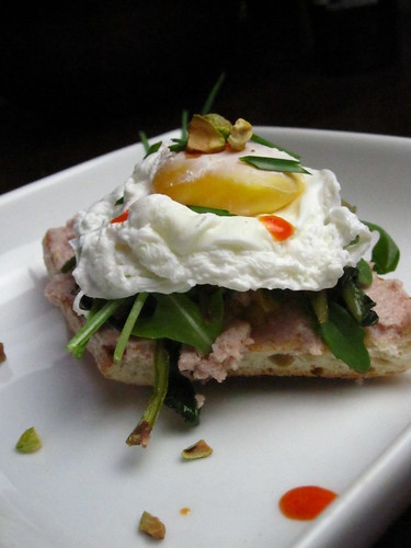 spuma di mortadella crostini with poached egg