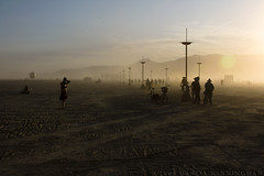 Dust. Wind. Dude. (dwinning) Tags: sunset shadow people man black lamp rock canon desert nevada playa burningman burning burn brc 2009 theman blackrock lamplighter akali platinumphoto dwinning bm2009 bm09 danielwinningham burningman:art=422