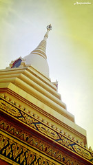 100 Years Pagoda At Wat Luangpho I /  100    (AmpamukA) Tags: sky yellow thailand temple golden pagoda or year hundred thai 100 wat tone traval chonburi   sattahip i  luangpho         ampamuka