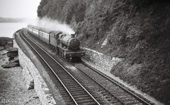6934 BEACHAMPTON HALL skirting the River Teign and nearing Teignmouth with an up train 11 Sept 1952 (pondhopper1) Tags: blackandwhite white black railway steam gwr 460 uksteam gwrsteam