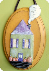 autumn wall hanging plaque (jessicajane.love) Tags: november blue autumn sculpture orange house art fall home yellow wall plaque season pumpkin 3d october paint ooak cottage decoration september clay mustard apples welcome hay ochre collectable dwelling polymer