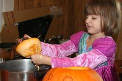 eww.. gooey (eddiandizosmom) Tags: pumpkin pumpkincarving goo ewwwww isobela pumpkingoo