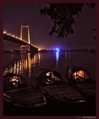 2nd Hoogly bridge @ night ($our@v) Tags: reflection night nikon nightshot nikkor calcutta ghat westbengal countryboat 2ndhooglybridge princepghat princep calcuttakolkata nouka kolkataatnight 18105vr