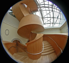 Stair up 4 (kynggefisher) Tags: wood toronto public architecture stair skylight fisheye ago curve frankogehry walkercourt stairsequence