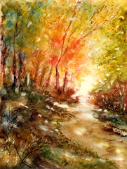 Art: Watercolour:...'Indian-Summer'...ou:...Automne flamboyant... (Nadia Minic) Tags: autumn forest automne aquarelle herbst watercolour colourful luxembourg wald farbig fort indiansummer color aquarell lenningen iloveyourart nadiaminic
