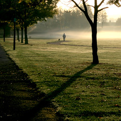 Man and Dog (Andrea Kennard) Tags: park uk morning mist tree london fog sunbeams tke skodde albanyparkenfield