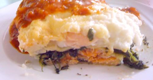 Salmon spinach lasagne / Lachs-Spinat-Lasagne - CloseUp
