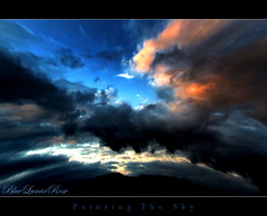 Painting The Sky (BlueLunarRose) Tags: blue sunset red sky cloud sun mountain black mountains art nature clouds landscape twilight paint horizon bluelunarrose sensationalphoto suntwilight paintingthesky