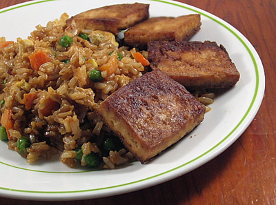 Baked Tofu with Fried Rice